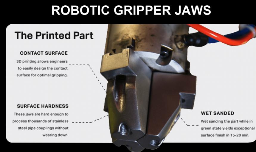 3D printed robotic gripper jaws