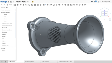 Design of a 3D printed intake restrictor.