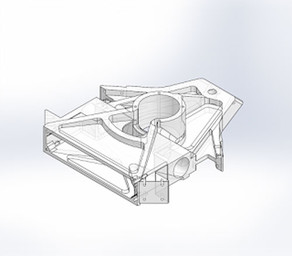 The unibody chassis for a kevlar-reinforced 3D printed combat robot.