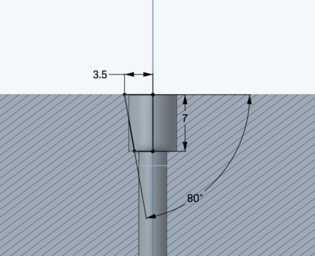 The taper allows clearance for extra material.