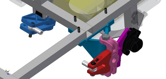 A CAD model of the new 3D printed steering knuckle parts in assembly.