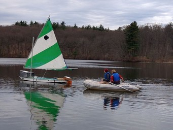 The team testing their control systems on the water.