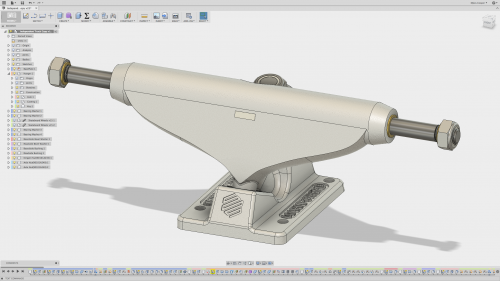 The completed CAD model of the truck in Fusion 360.