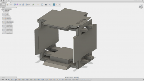 A 3D model of a box to be folded together.