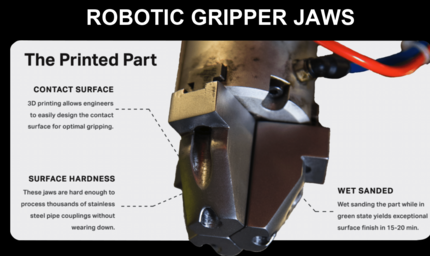 3D printed robotic gripper jaws