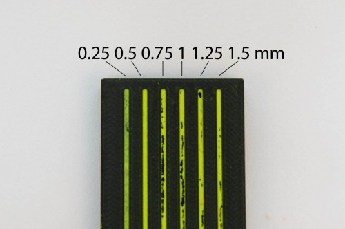 A unit test for engraving depth. 0.5 mm produced the best results.
