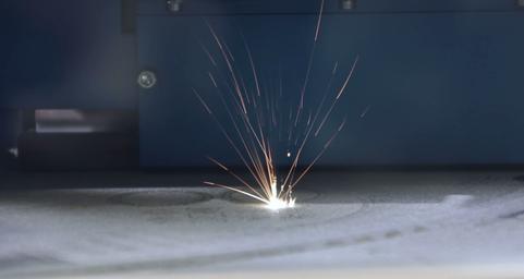 an SLM metal 3D printer while printing