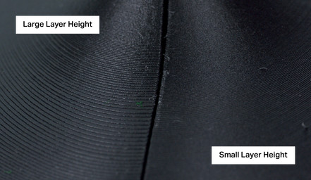 Layer height selection in 3D printing software impacts print resolution and time.