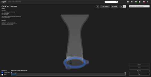 The air intake restrictor laid out in our Eiger software.
