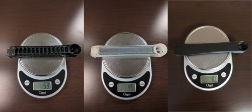 A weight comparison of the injection molded, nylon, and Onyx drone arms.