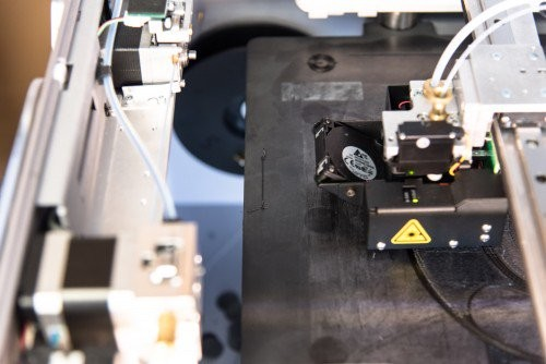 During Adaptive Bed Leveling, the printer prints a small strip on the left side of the bed.