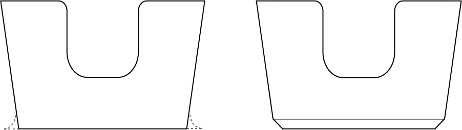 Chamfer bottom edges to reduce splayed edges, also known as elephant's foot.