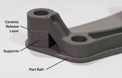 a 3d printed metal part, showing details of the additive manufacturing process