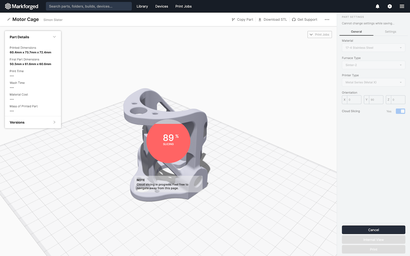 Eiger software slicing a 3D object