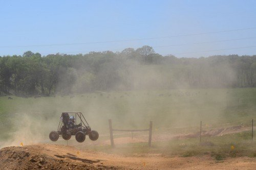 an Olin SAE Minibaja car goes airborne off a large jump in Tennessee