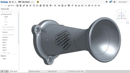 Design of a 3D printed intake restrictor.