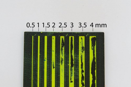 A unit test for engraving width. 0.5-1 mm width seemed to produce the best results.